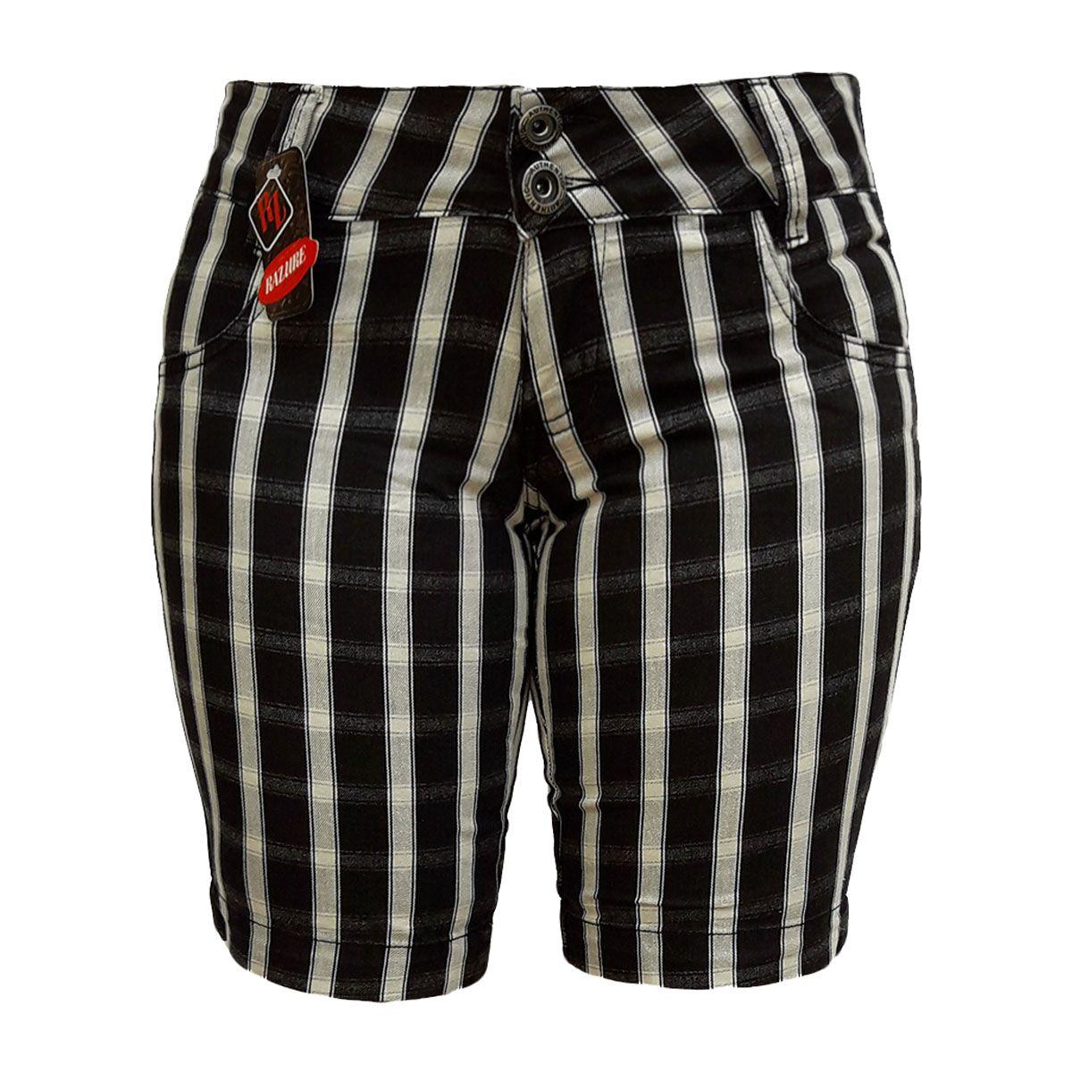 Bermuda Jeans Feminina Xadrez Cintura Baixa Tamanho 38