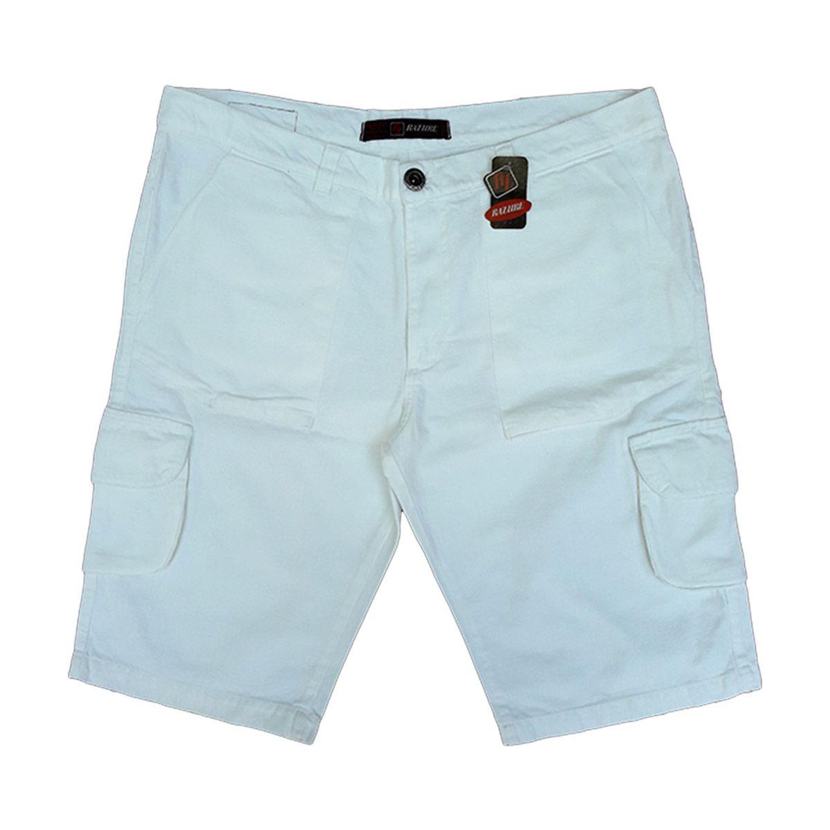 Bermuda Jeans Masculina Cargo Branca Tamanhos 36, 38 E 54