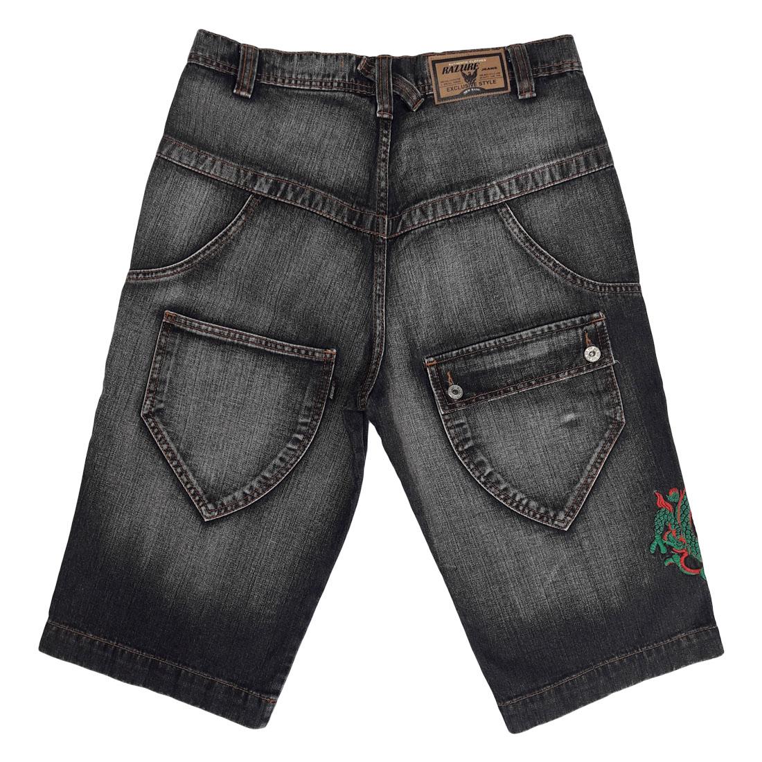 Bermuda Jeans Masculina com Detalhe Bordado