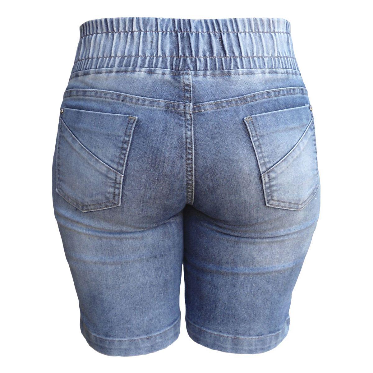 Bermuda Jeans Sky C/ Elástico No Cós Traseiro Tamanho 38
