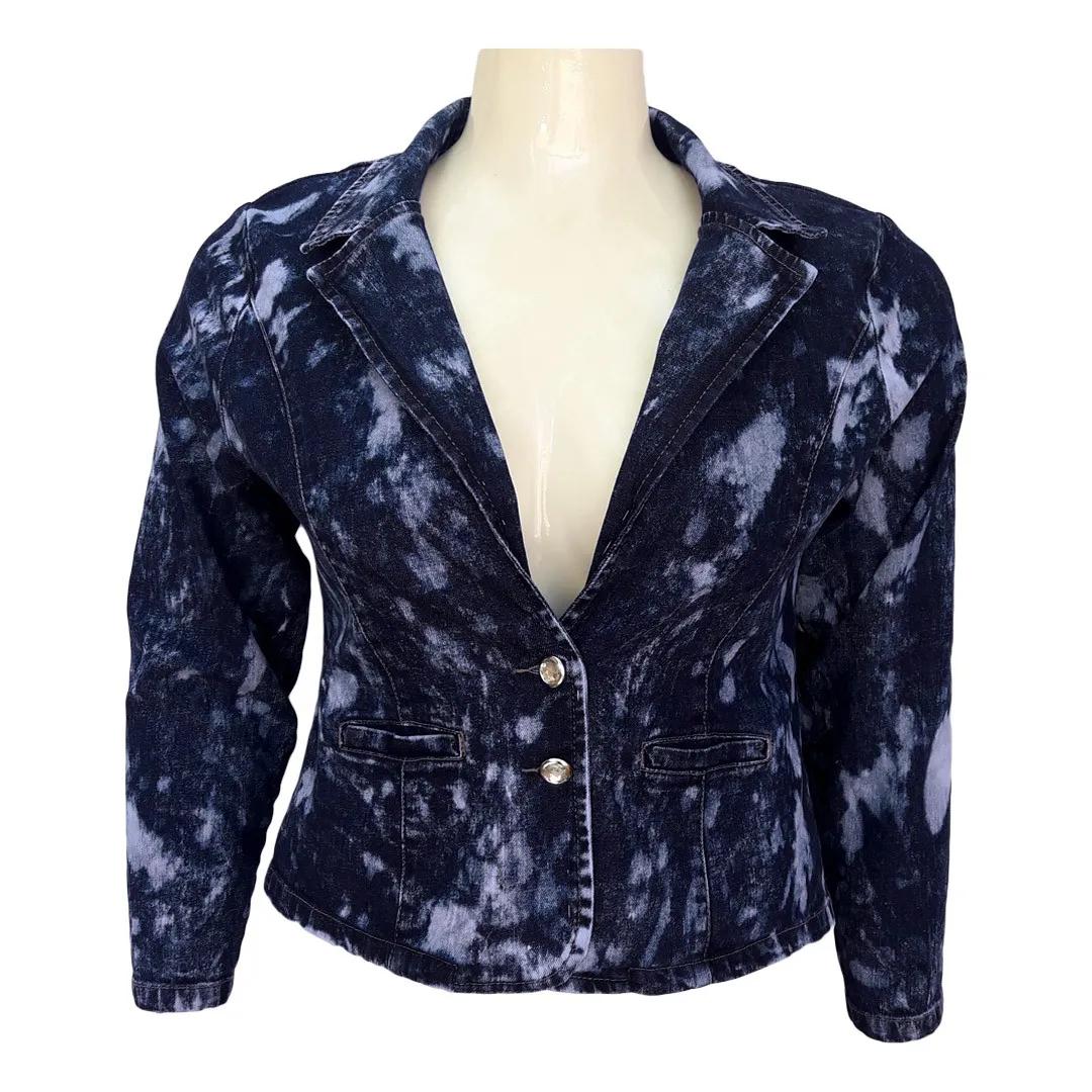 Blazer Jeans Feminino Tie Dye Plus Size