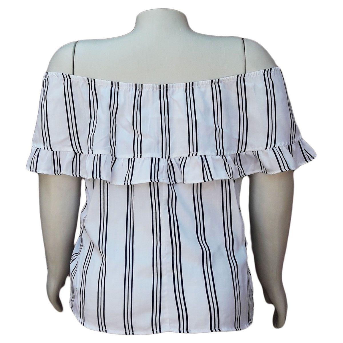 Blusa Ciganinha Liocel Listrada Plus Size