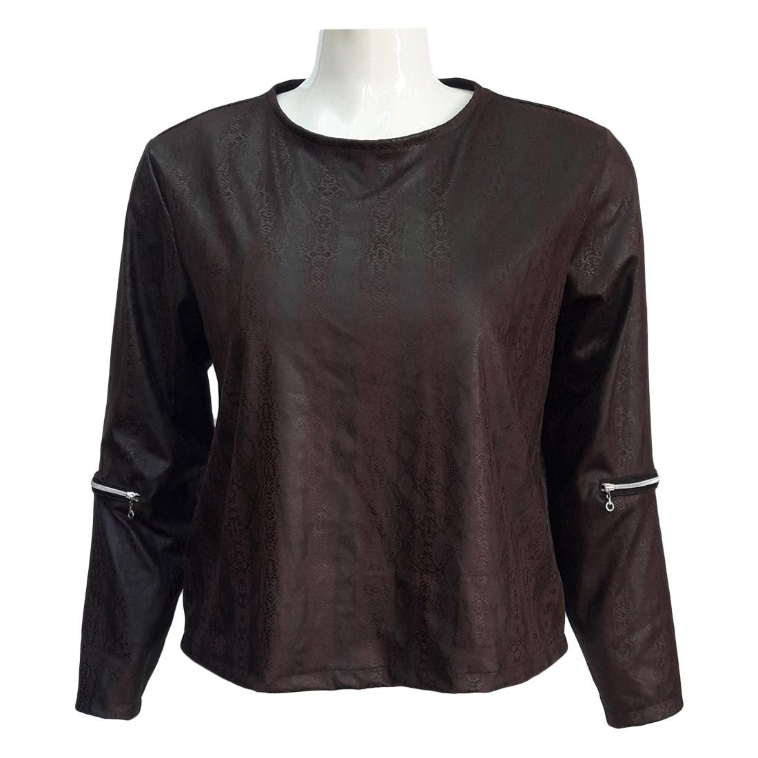 Blusa de Frio Feminina Suede Estampado Plus Size