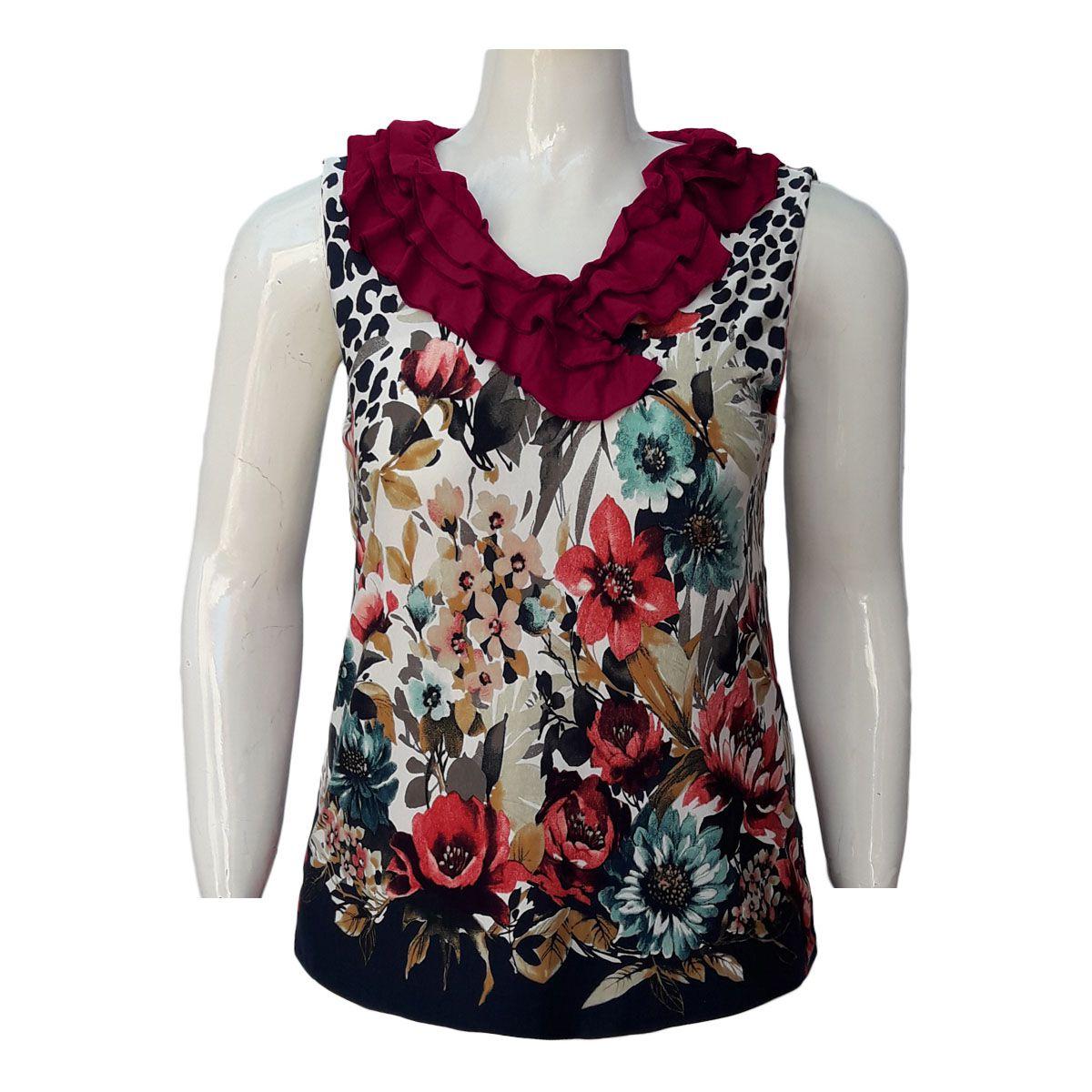 Blusa Estampada C/ Babado Plus Size