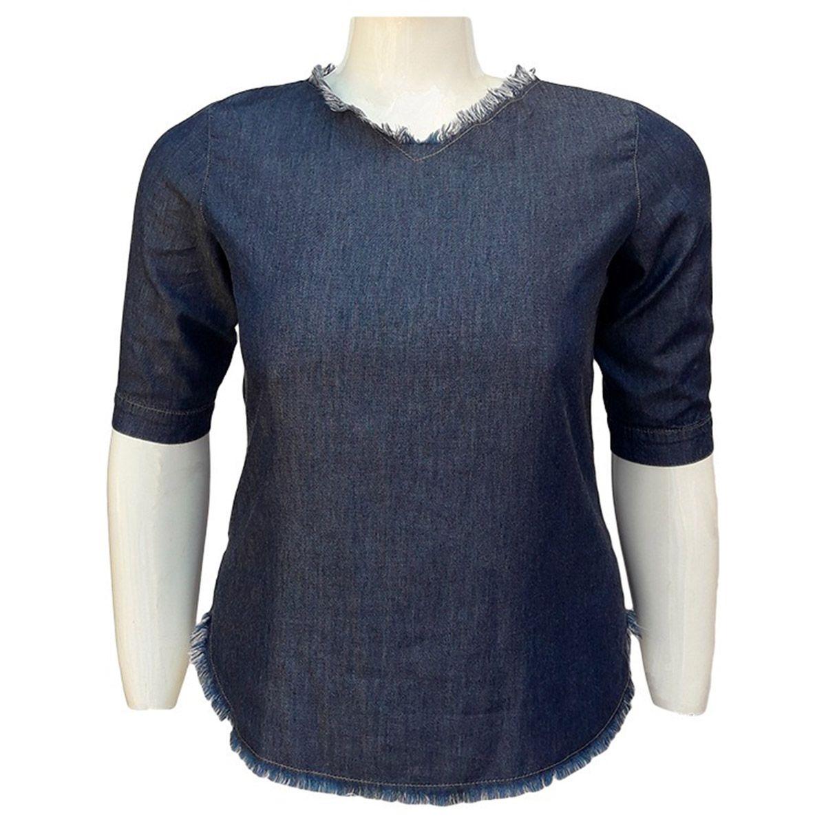 Blusa Jeans Liocel Com Ilhós Nas Costas Plus Size