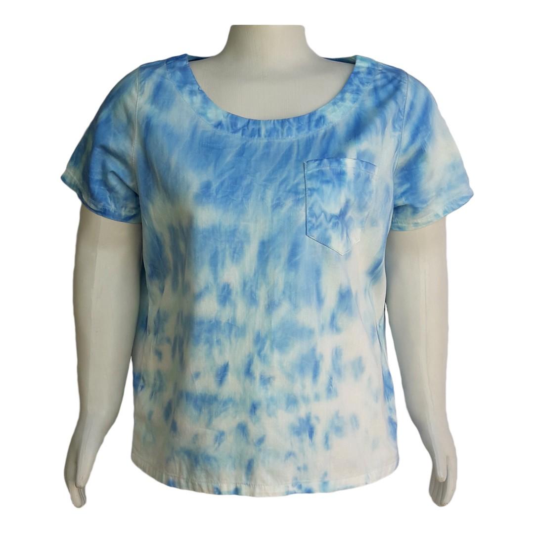 Blusa Jeans Tie Dye Plus Size