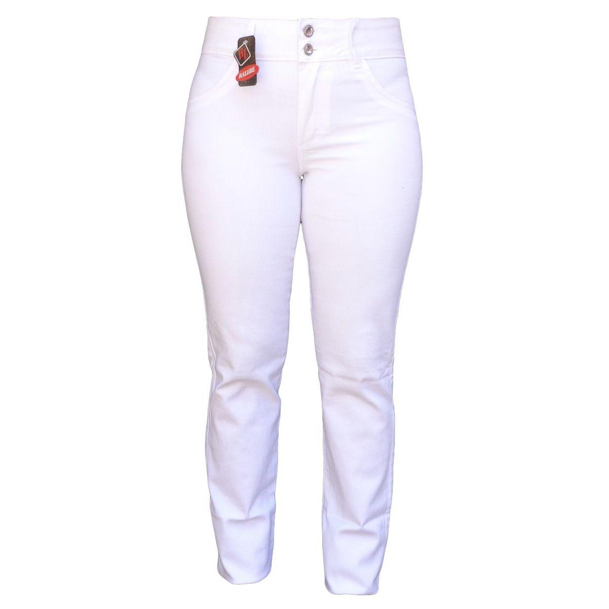 Calça Feminina Branca Cintura Alta Plus Size