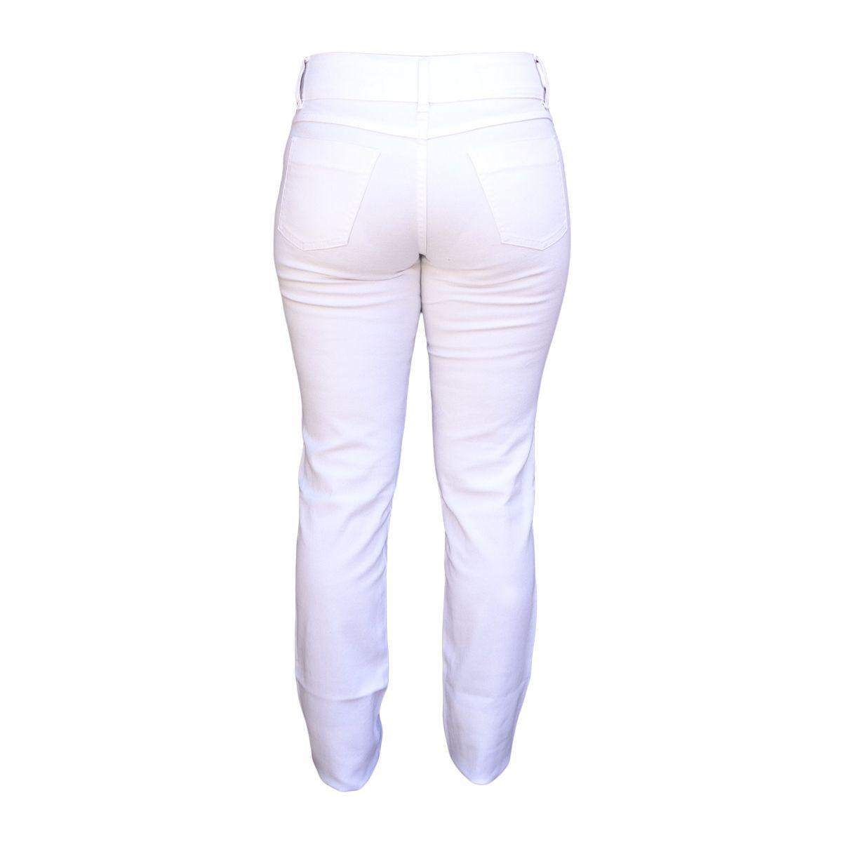 Calça Feminina Branca Cintura Média Tamanho 46
