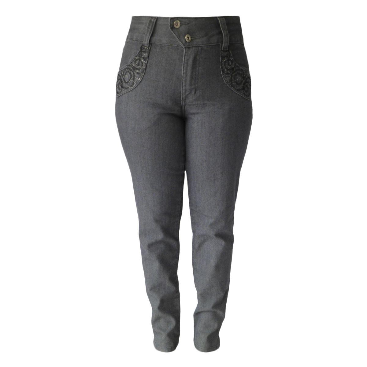 Calça Jeans C/ Detalhe Em Bordado Cintura Alta Tam 36 E 40