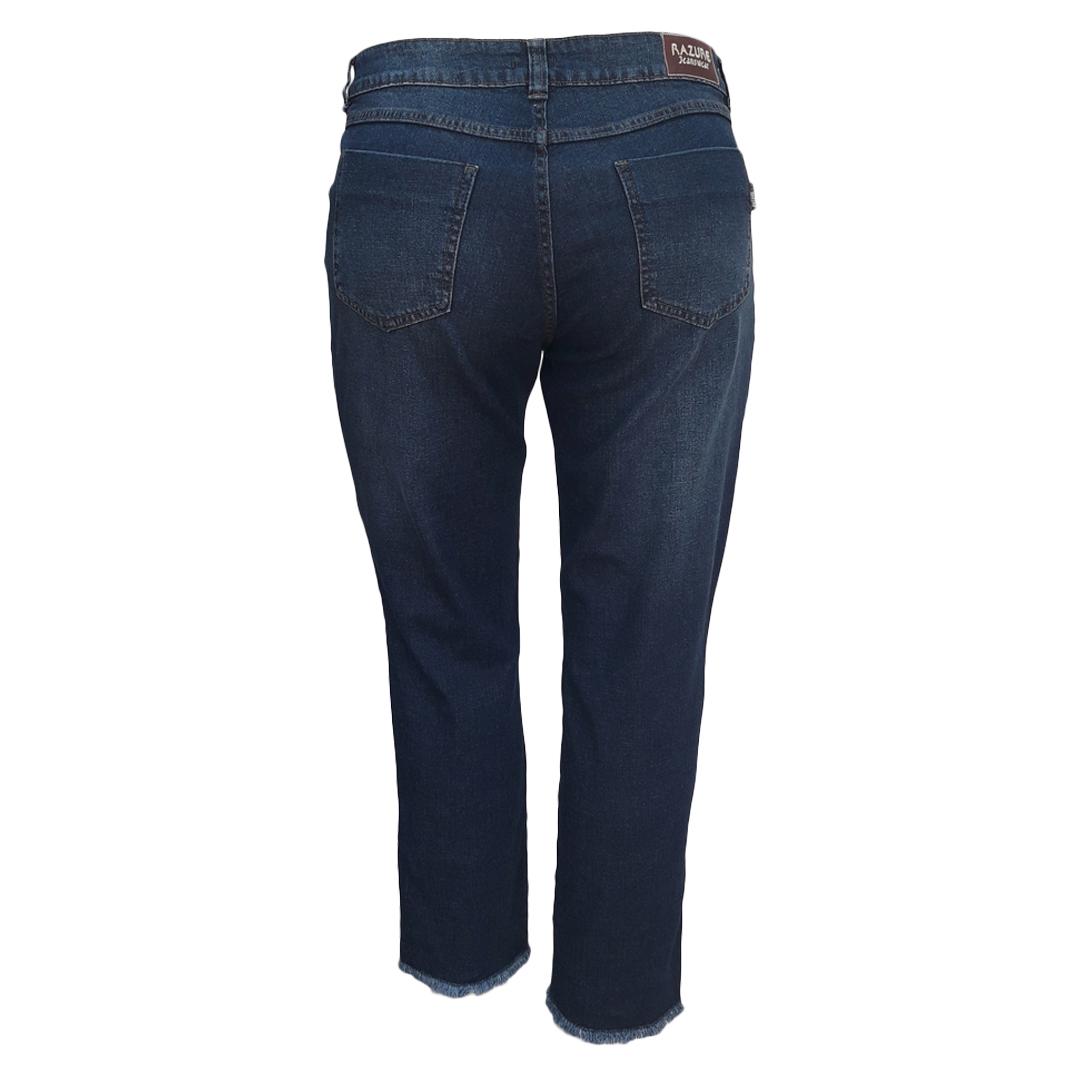 Calça Jeans Cigarrete Barra Desfiada Plus Size