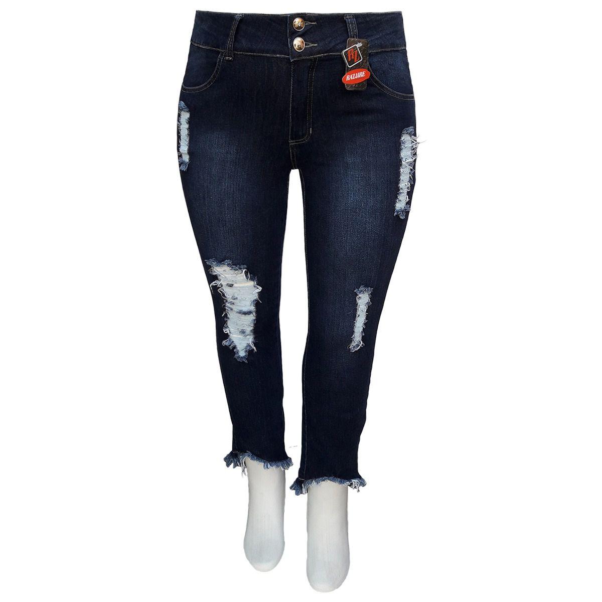 Calça Jeans Fem Cropped Rasgada Barra Desfiada Plus Size