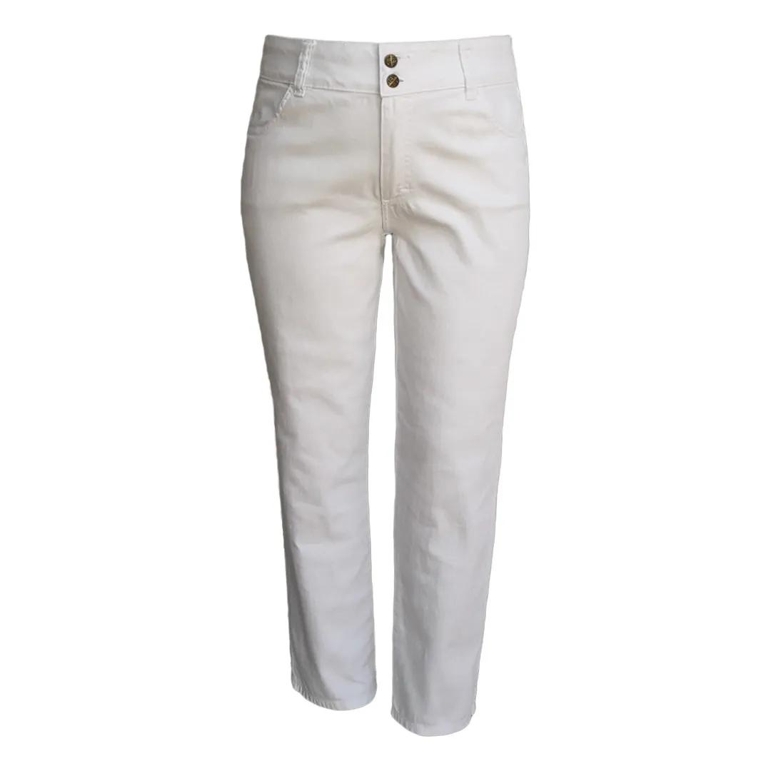 Calça Jeans Feminina Branca Cintura Alta Plus Size