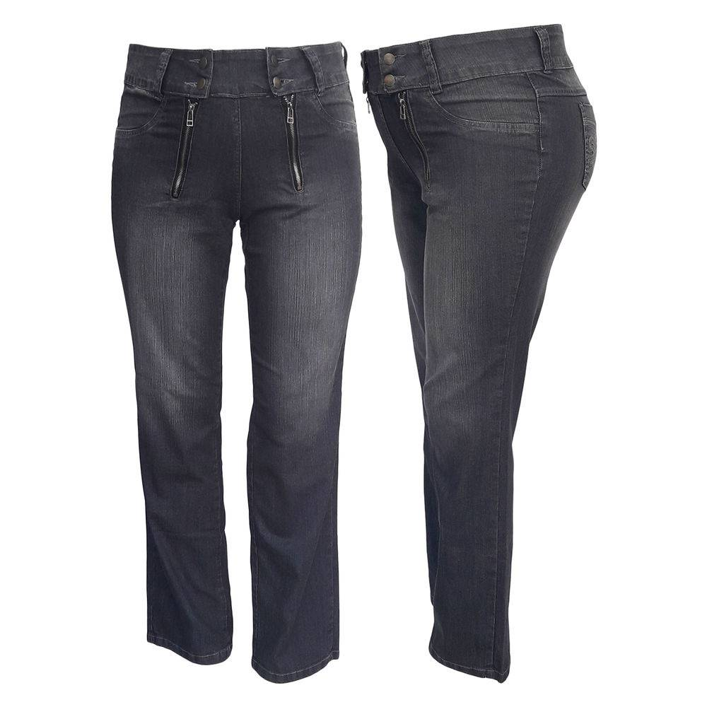 Calça Jeans Feminina C/ Ziper Frontal Plus Size