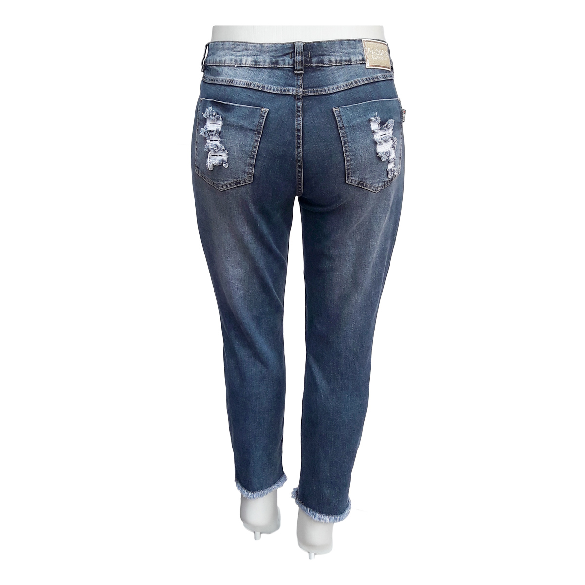 Calça Jeans Feminina Cigarrete Rasgada Plus Size