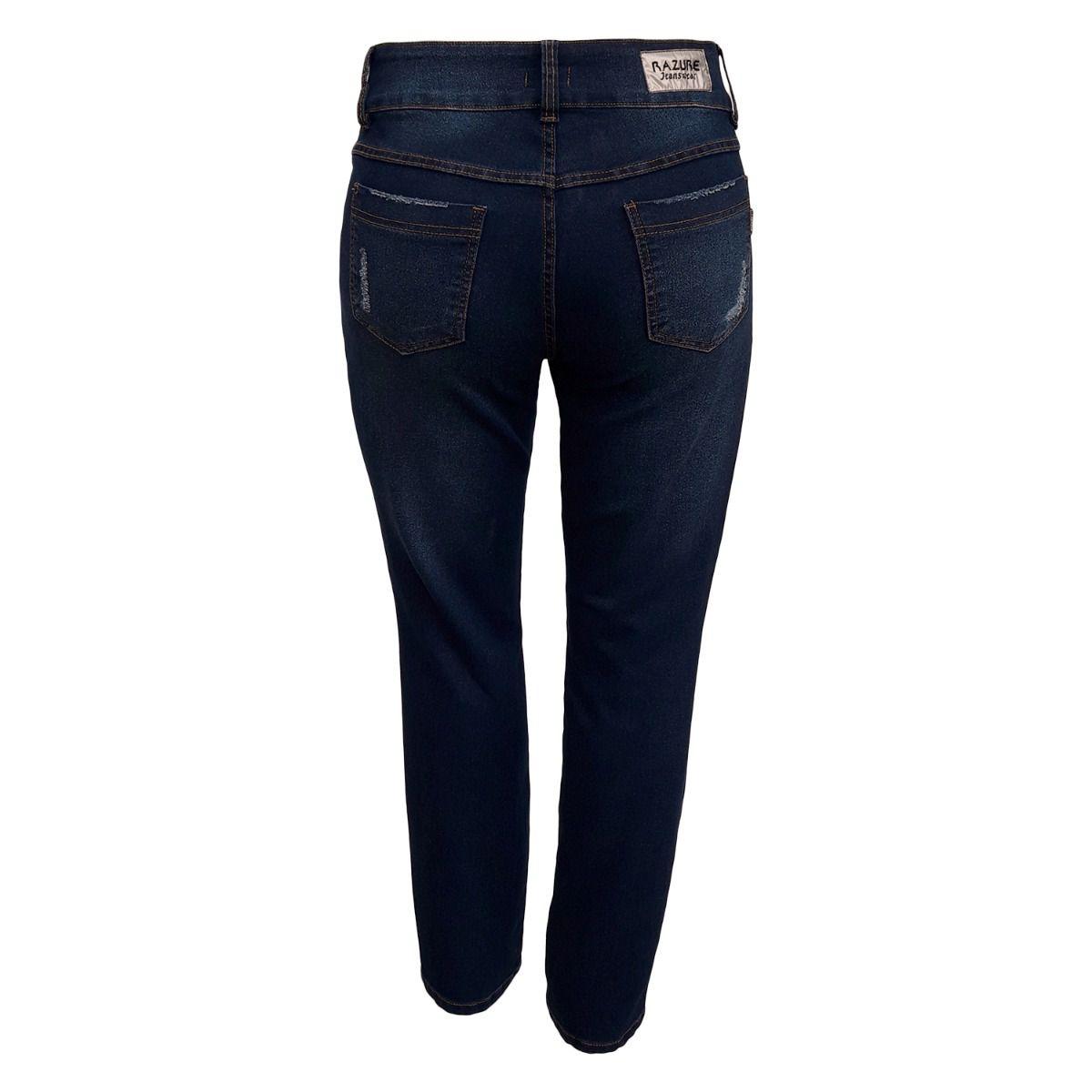 Calça Jeans Feminina Com Puído Plus Size
