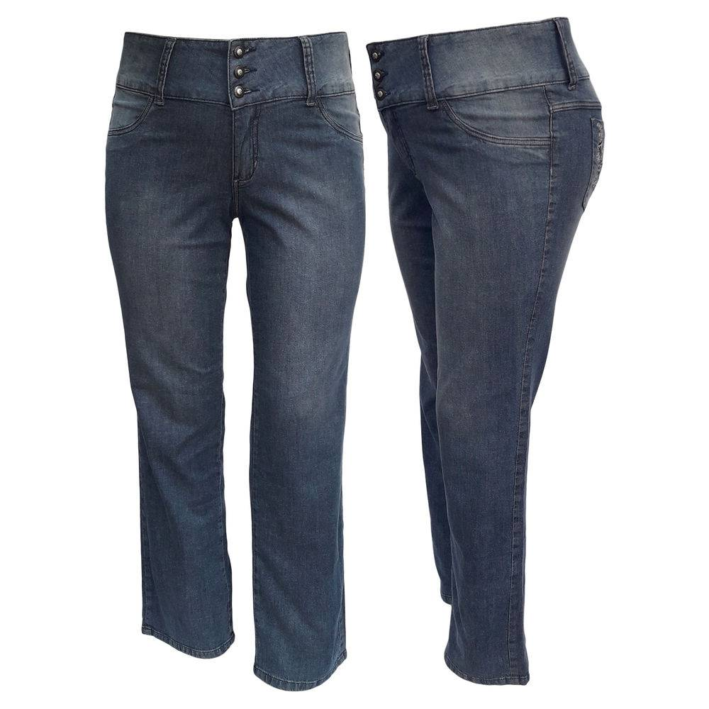 Calça Jeans Feminina Cós Largo C/ Bolso Bordado Plus Size