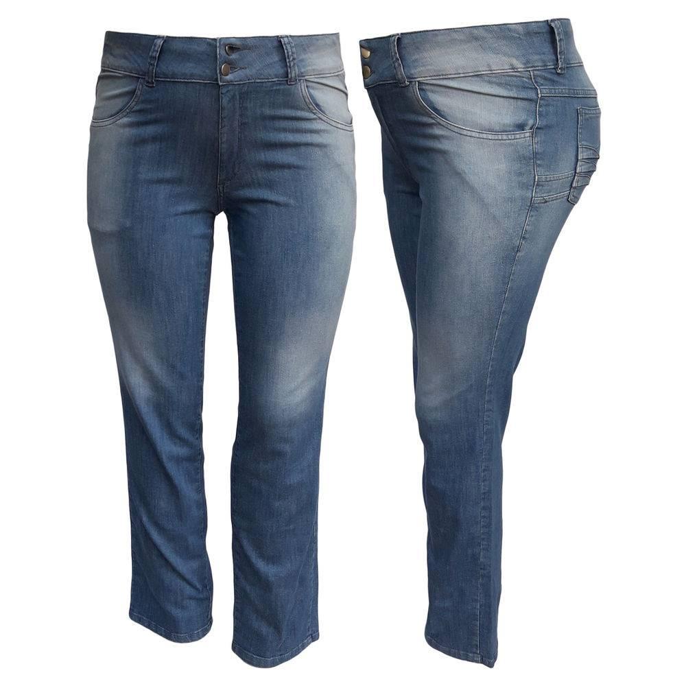 Calça Jeans Feminina Delavê Plus Size