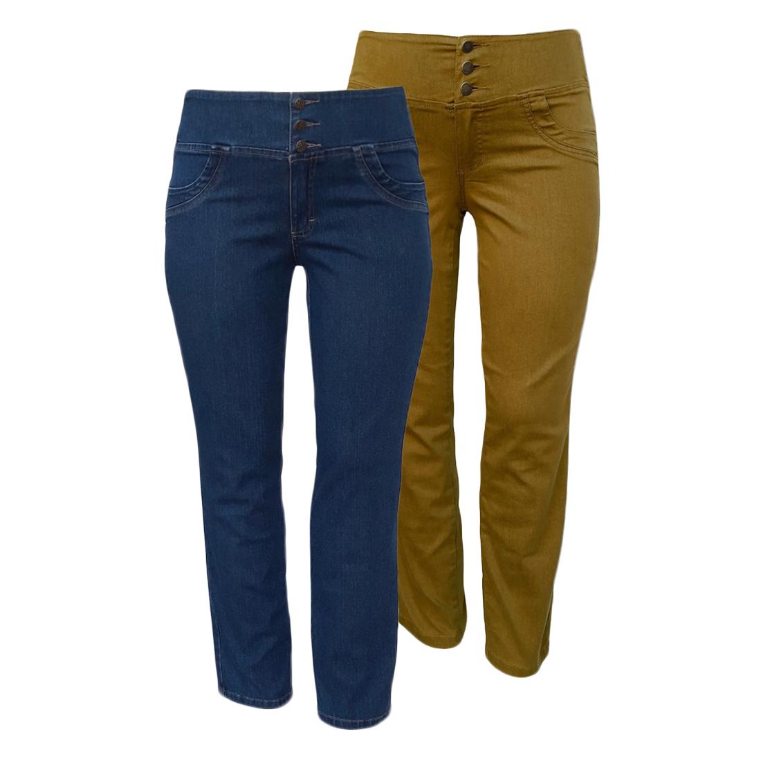 Calça Jeans Feminina Elástico Cós Traseiro Plus Size