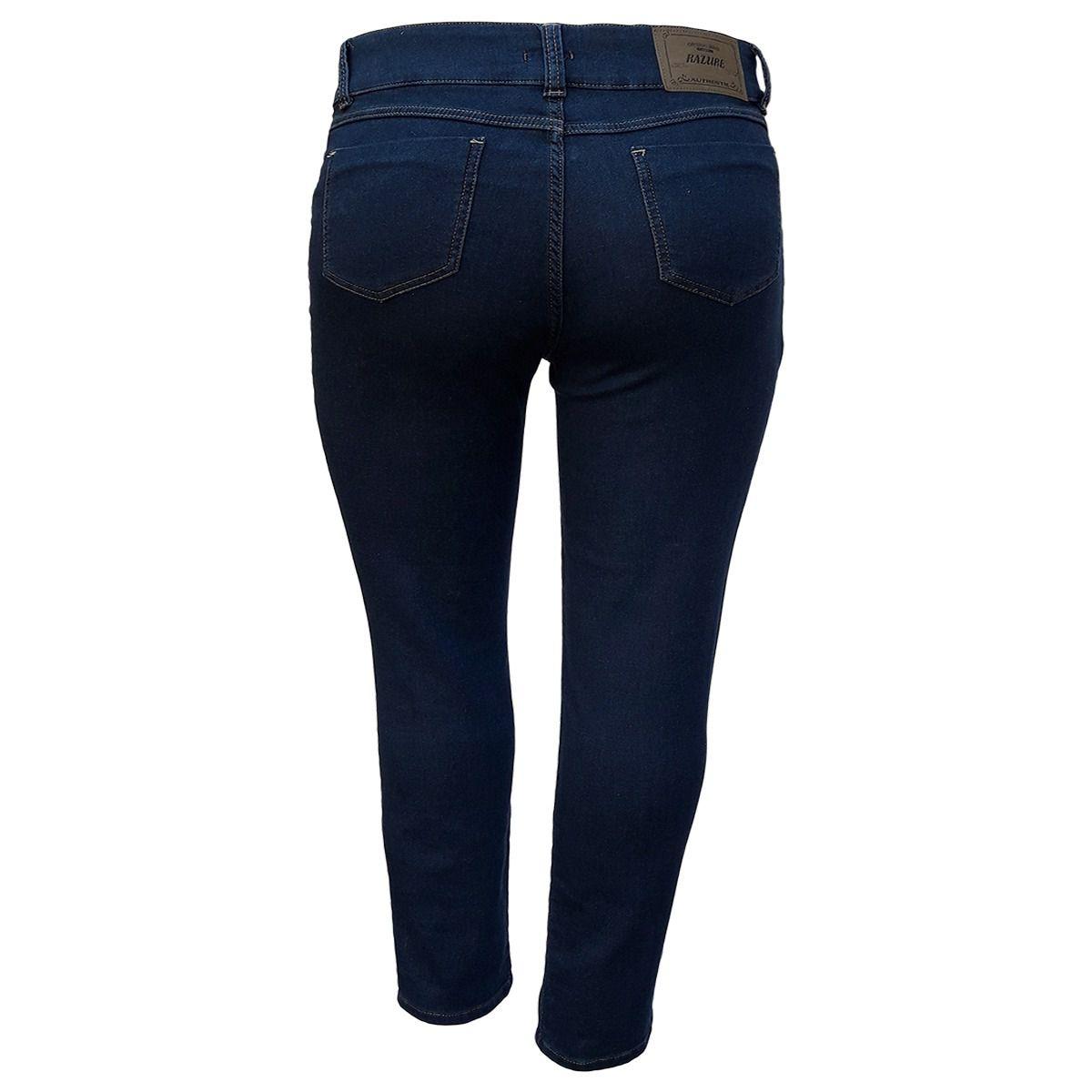 Calça Jeans Feminina Malha Denim Cintura Alta Plus Size
