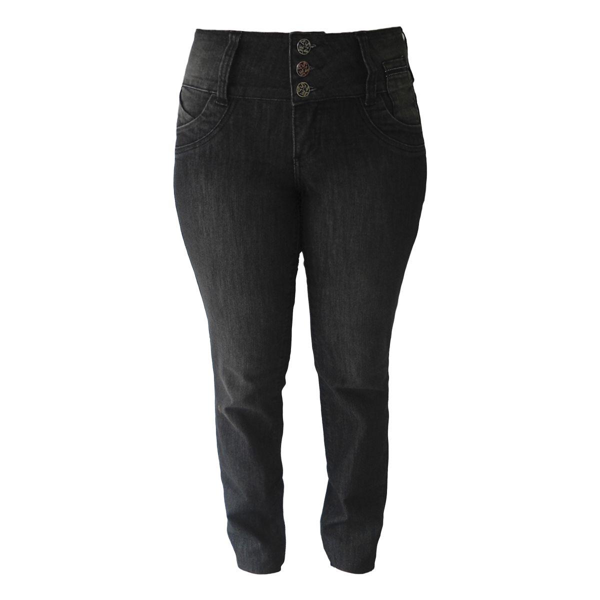 Calça Jeans Feminina Preta Plus Size Tamanho 42