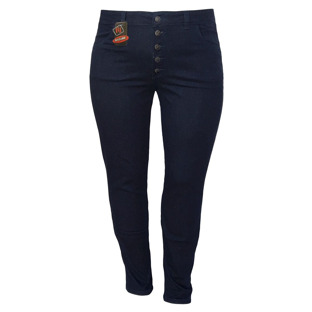Calça Jeans Feminina Skinny Com Botões Plus Size