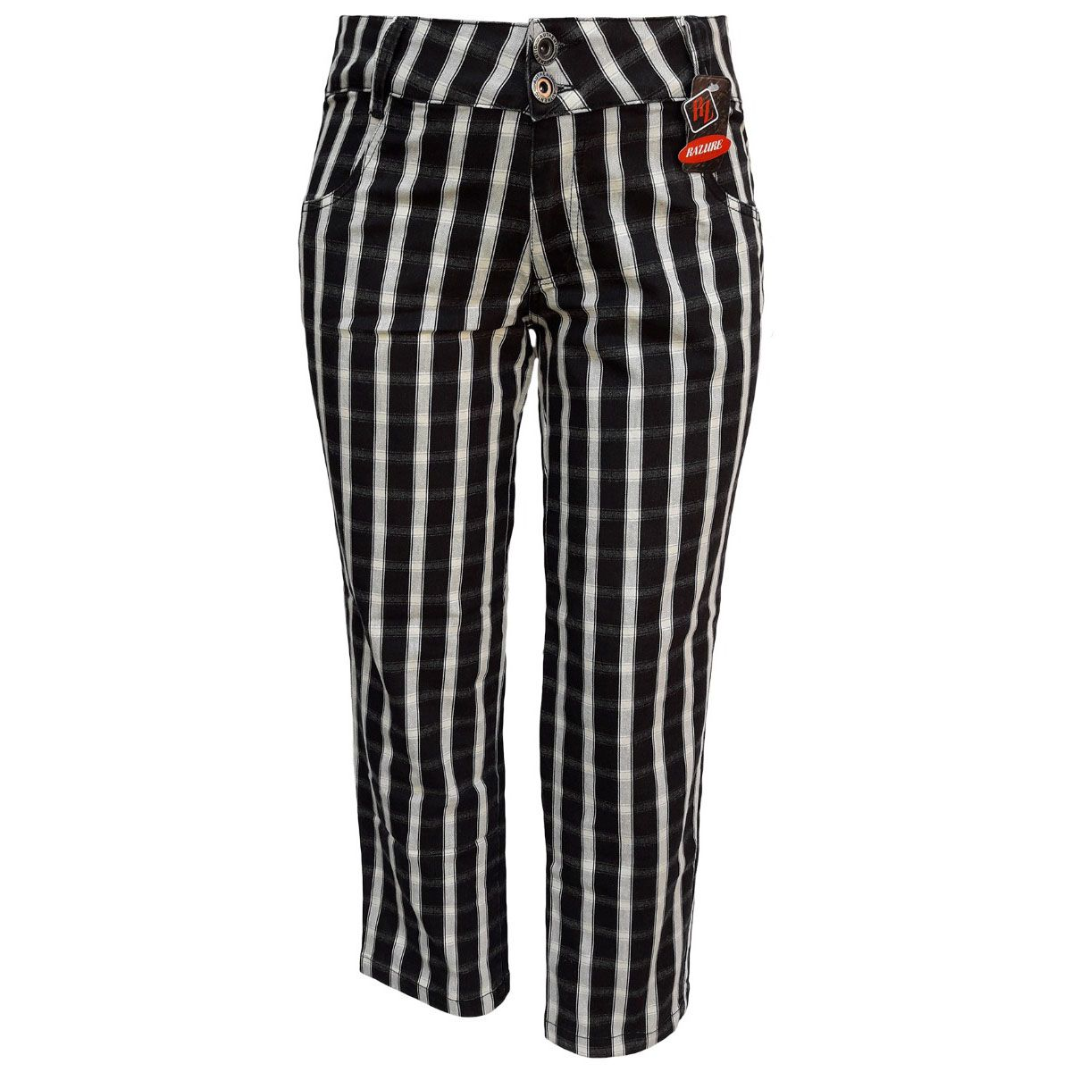 Calça Jeans Feminina Xadrez Plus Size