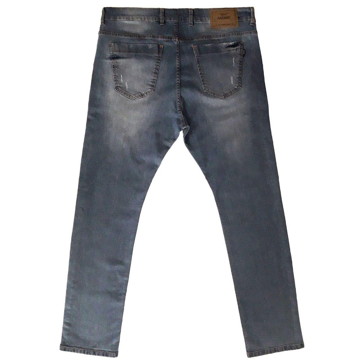 Calça Jeans Masculina Slim Rasgada Plus Size