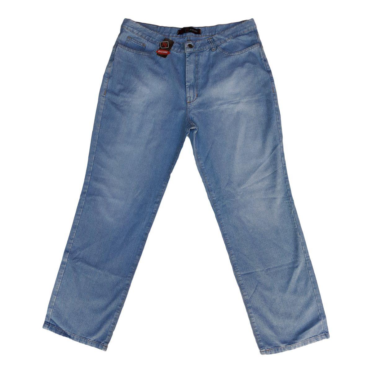 Calça Jeans Masculina Tradicional Delavê Plus Size Tam 52