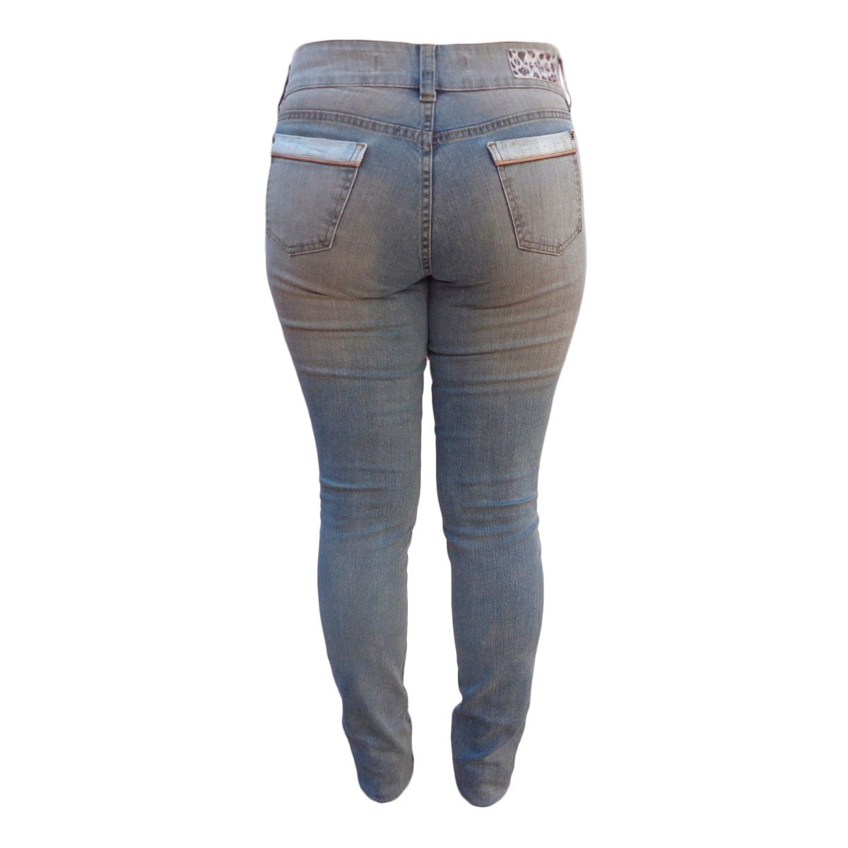 Calça Jeans Super Skinny Vintage Manchada Plus Size