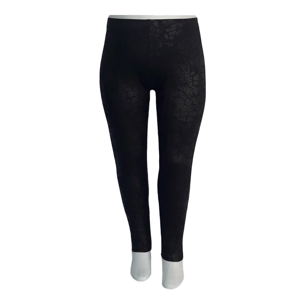 Calça Legging Jacquard Preta Plus Size