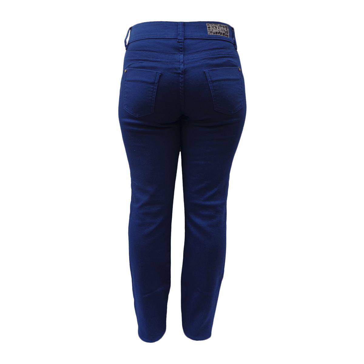Calça Reta Color Jeans Denim Malha Cintura Alta Tamanho 44