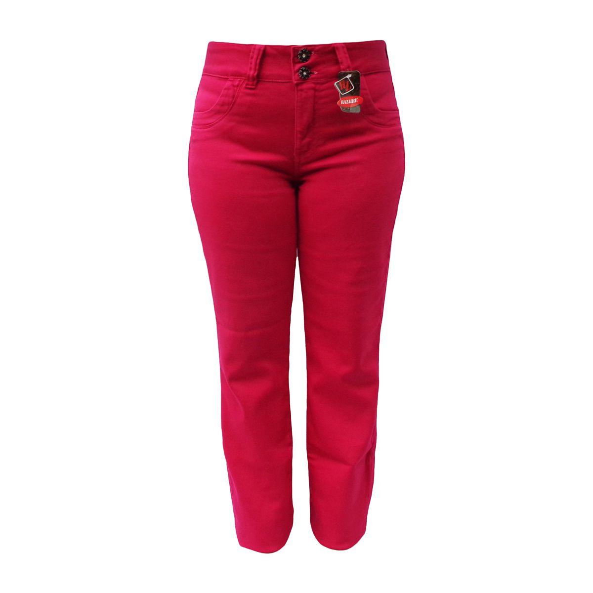 Calça Reta Color Jeans Malha Denim Tamanho 38 A 42