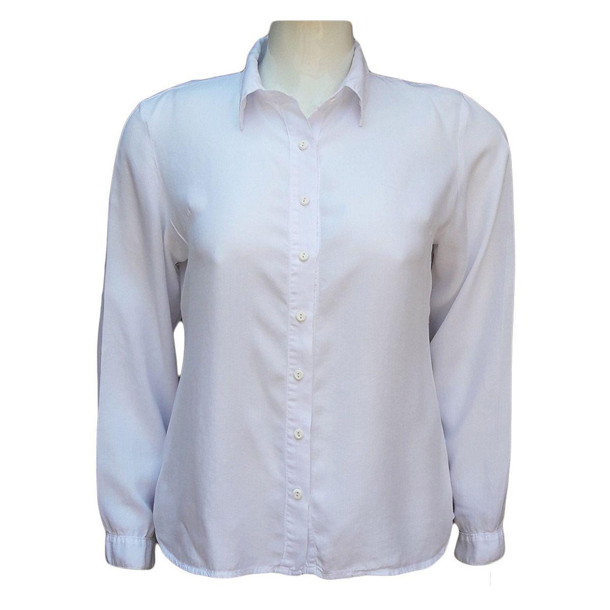 Camisa Feminina De Liocel Branca Plus Size
