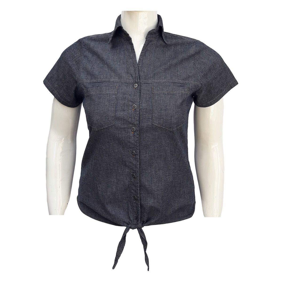 Camisa Jeans Feminina Com Nó Plus Size