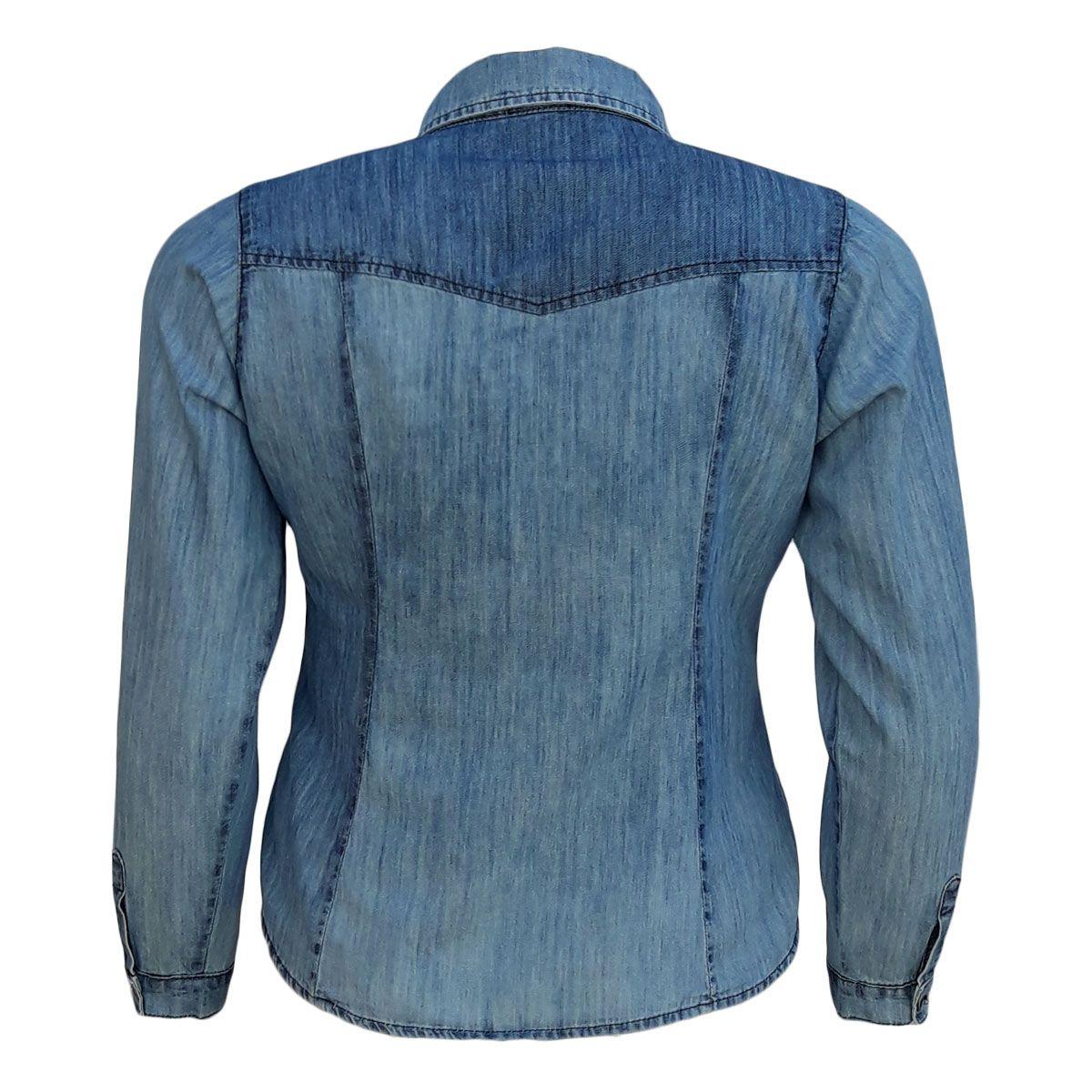 Camisa Jeans Feminina Manga Longa Sky Blue Plus Size