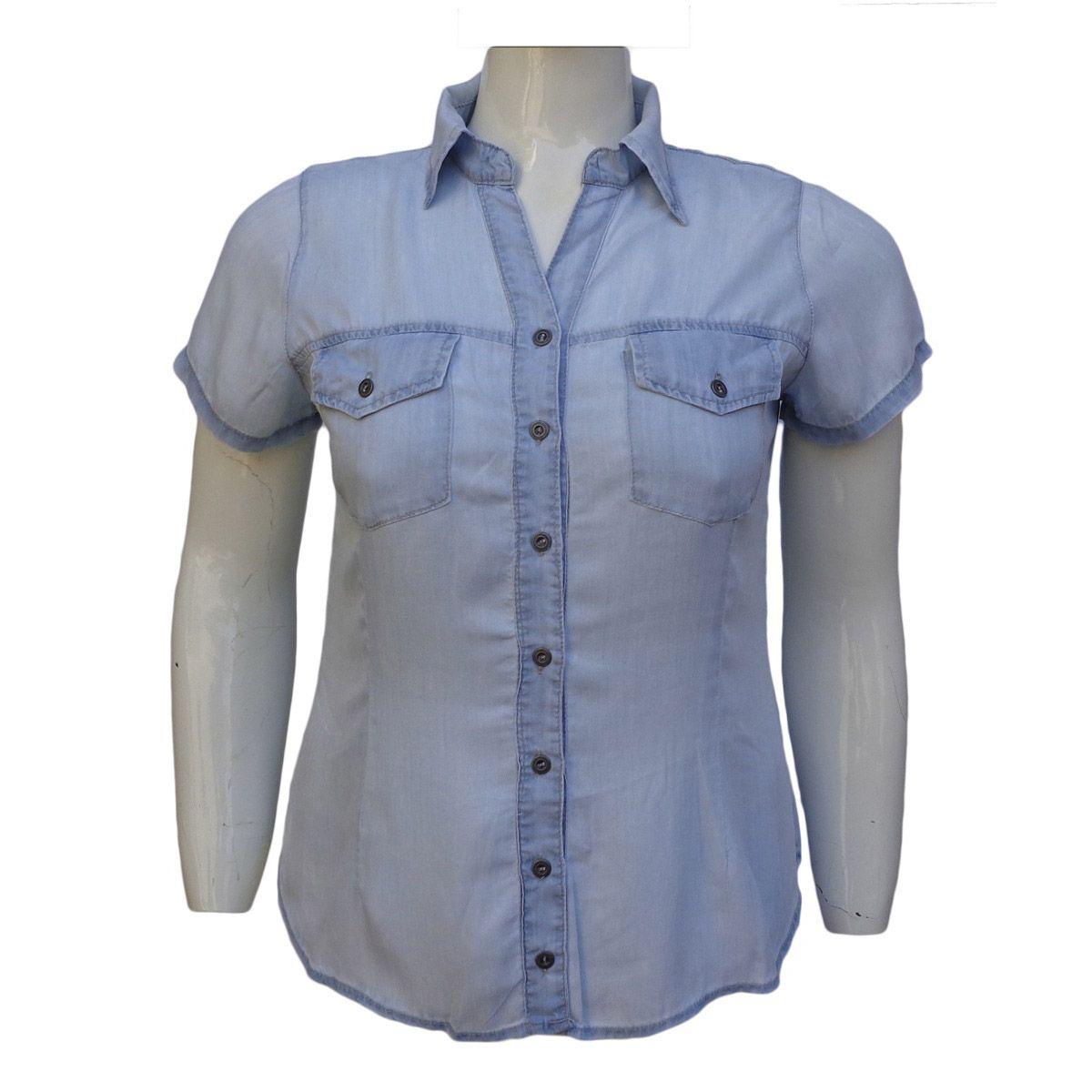 Camisa Jeans Liocel Feminina Delavê Pluz Size