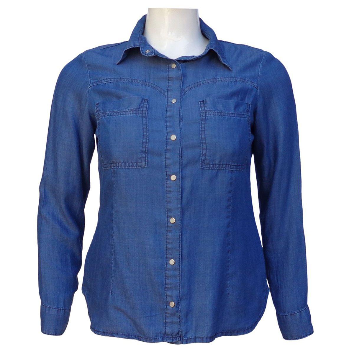 Camisa Jeans Liocel Feminina Manga Longa Plus Size