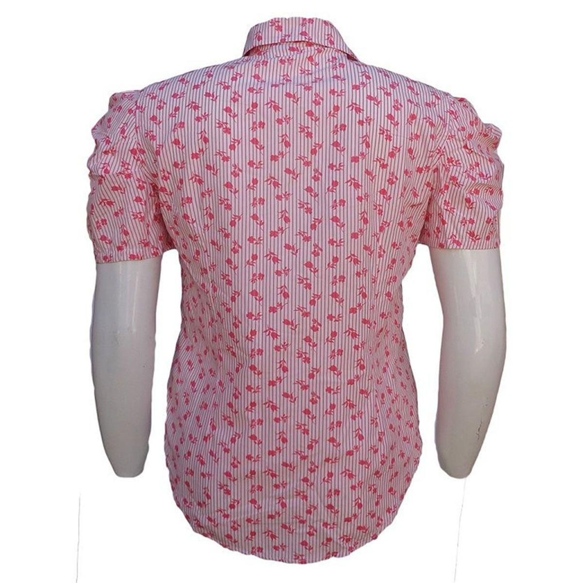 Camisa Listrada Estampada Feminina Plus Size