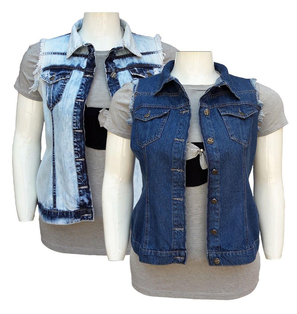 Colete Jeans Feminino Plus Size