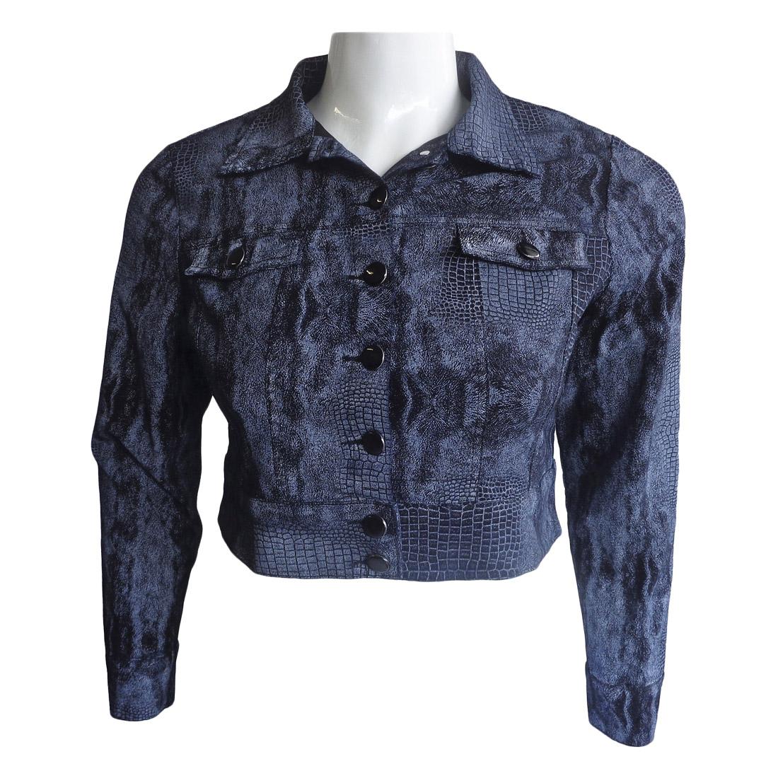 Jaqueta Cropped Jeans Resinado Kobra Tamanho M e GG2