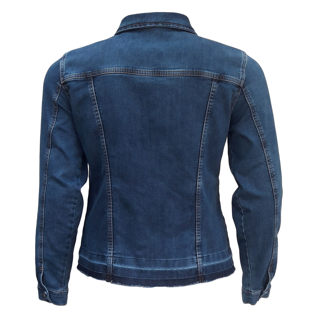 Jaqueta Jeans Feminina Barra Desmanchada Plus Size