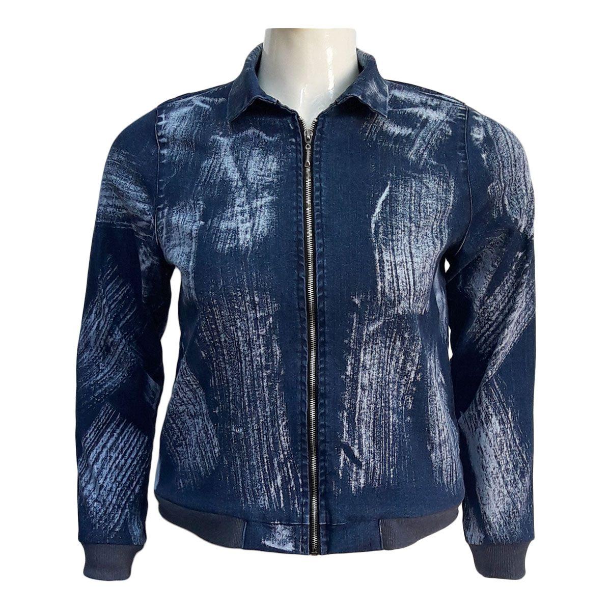 Jaqueta Jeans Feminina Bomber Plus Size