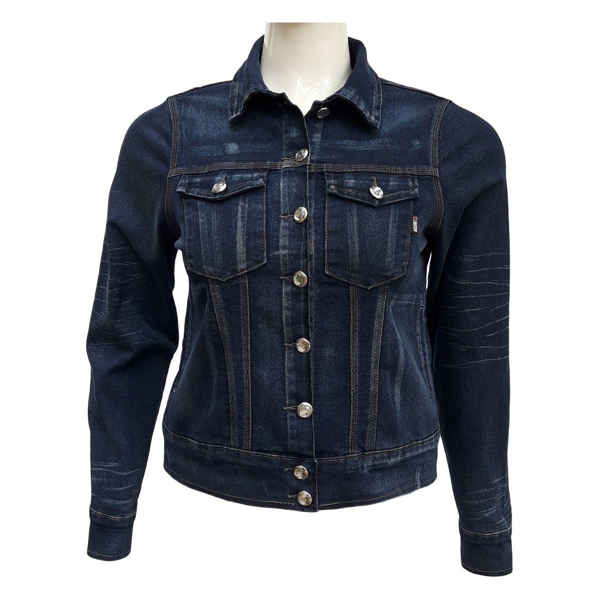 Jaqueta Jeans Feminina Cós Largo Plus Size