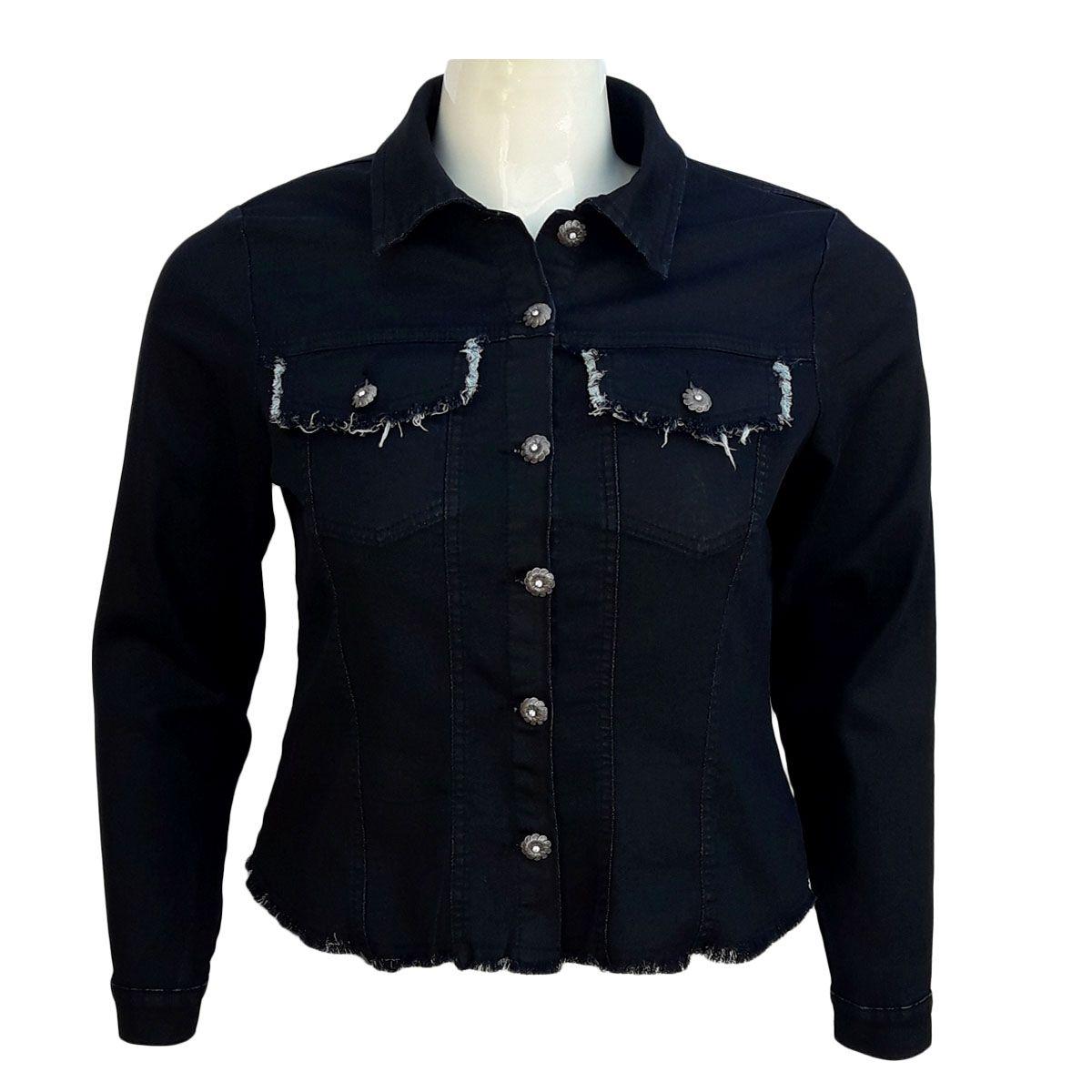Jaqueta Jeans Malha Denim Feminina Desfiada Plus Size