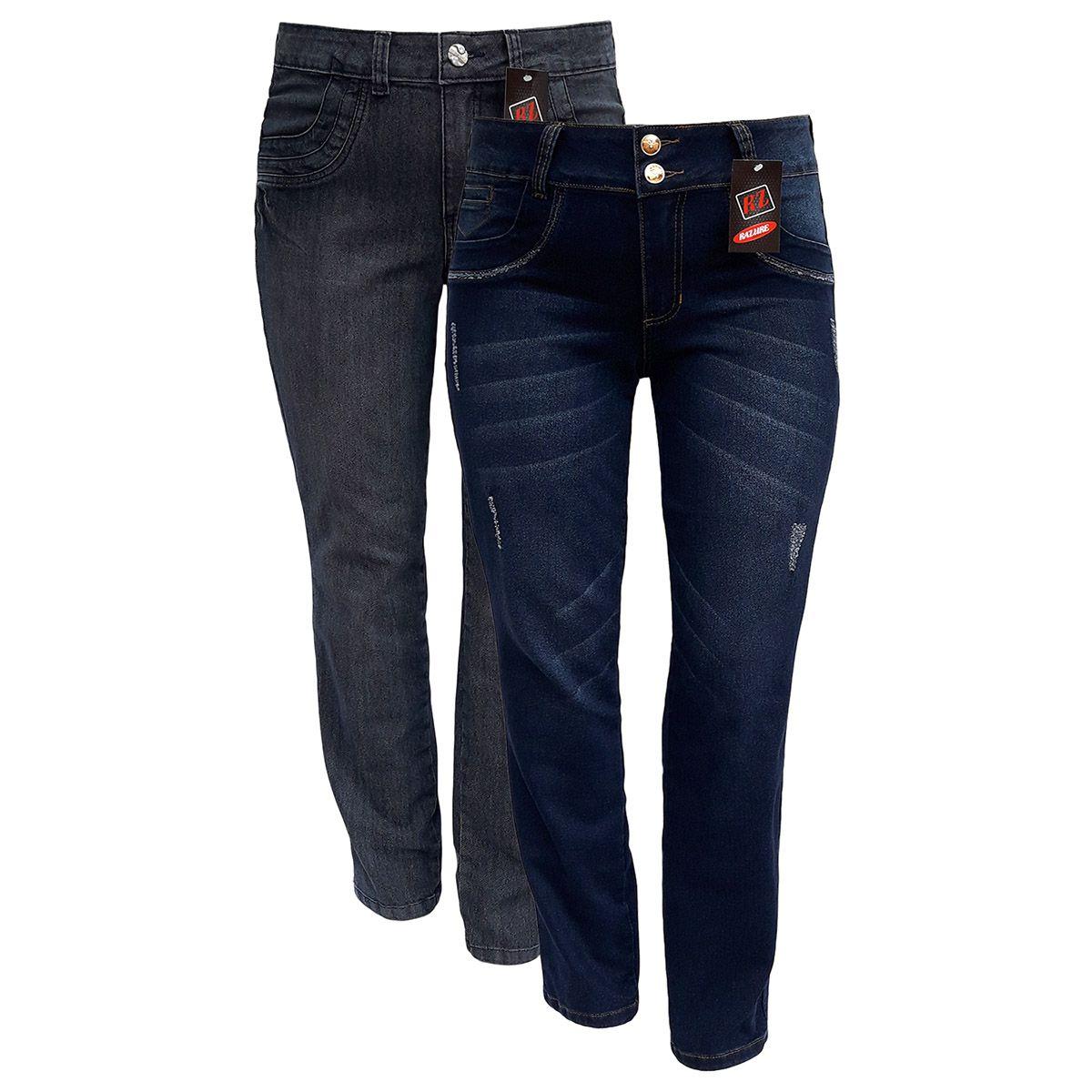 Kit 02 Calças Jeans Feminina Plus Size Tamanho 48