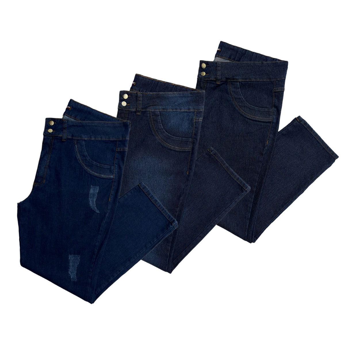 Kit 03 Calças Jeans Femininas Plus Size