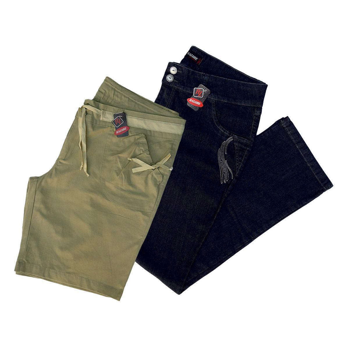 Kit 1 Calça E 1 Bermuda Femininas Cintura Alta Plus Size 56