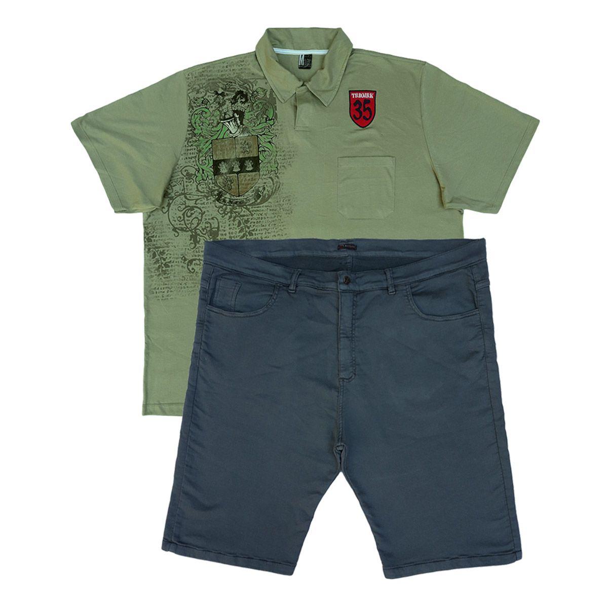 Kit Bermuda Jeans E Camisa Polo Masculina Plus Size 60 E Eg