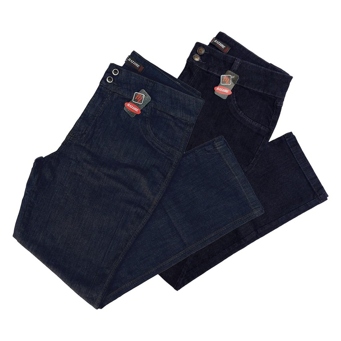 Kit C/02 Calças Jeans Femininas Cint Alta Plus Size 52 E 54
