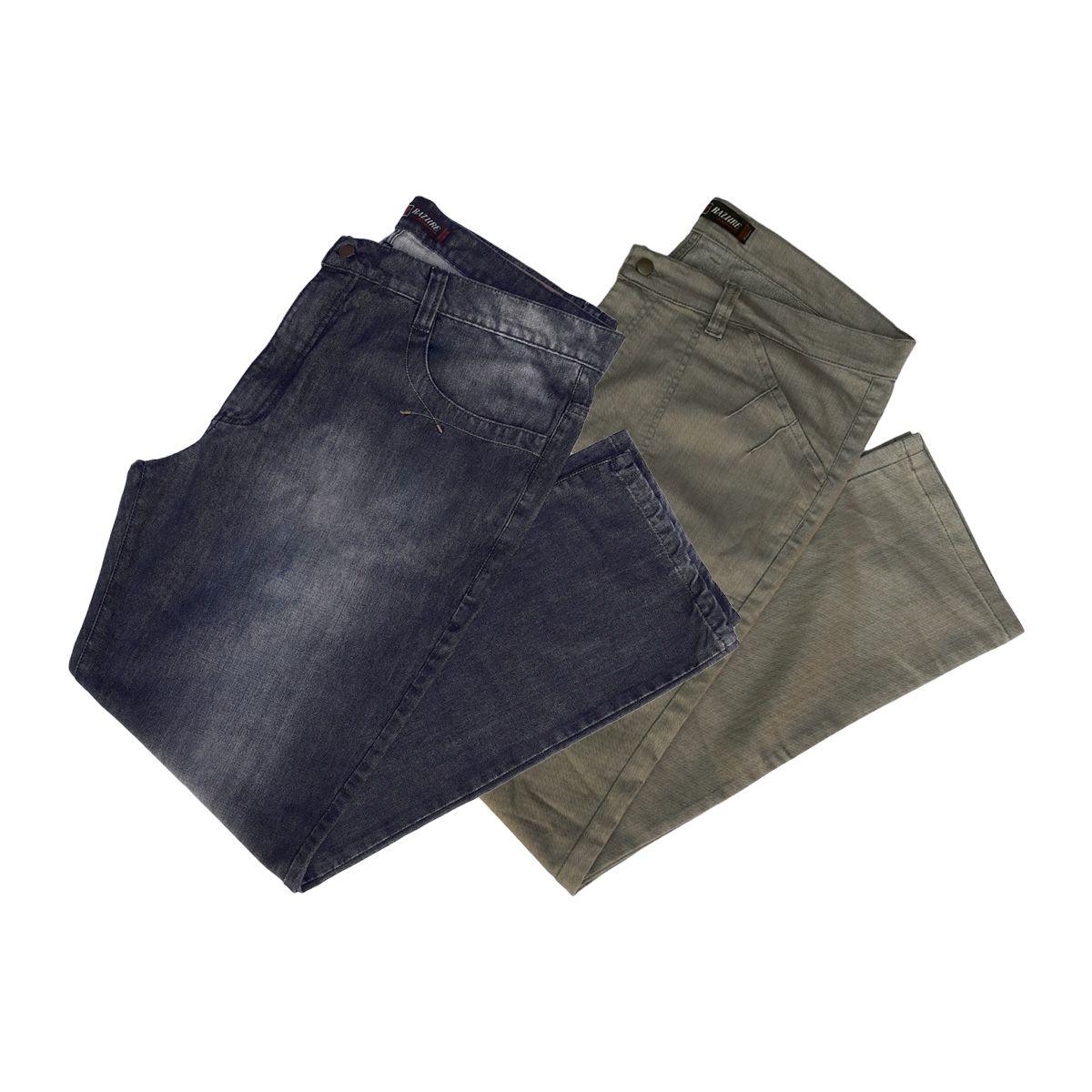 Kit C/ 02 Calças Jeans Masculinas Plus Size Tamanho 56